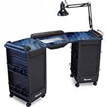393-V Manicure Nail Table Vented, Lockable w/Black Marble Lam. Top Made in USA by Dina Meri