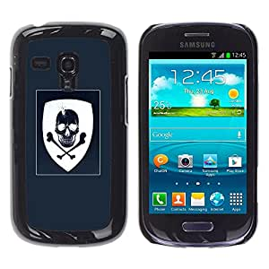Shell-Star Arte & diseño plástico duro Fundas Cover Cubre Hard Case Cover para Samsung Galaxy S3 III MINI (NOT REGULAR!) / I8190 / I8190N ( Coat Of Arms Blue White Skull Pirate )