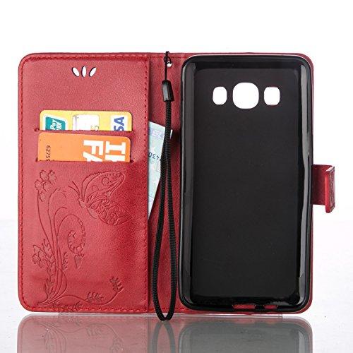 Funda Piel con Tapa para Samsung Galaxy J5 (2016) J510,Flip Fina Case de Cuero Samsung Galaxy J5 (2016) J510, TOCASO Billetera para Personalizada Repujado Flor Mariposa Pattern Completa Wallet Ultra S Roja