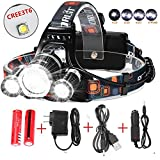Best Led Headlamp Flashlight 10000 LM - New 2018 Bright Headlight Waterproof Hard Hat Light Head Lamp with Improved CREE Led Rechargeable Batteries for Camping Running Outdoor Security Light(Silver)