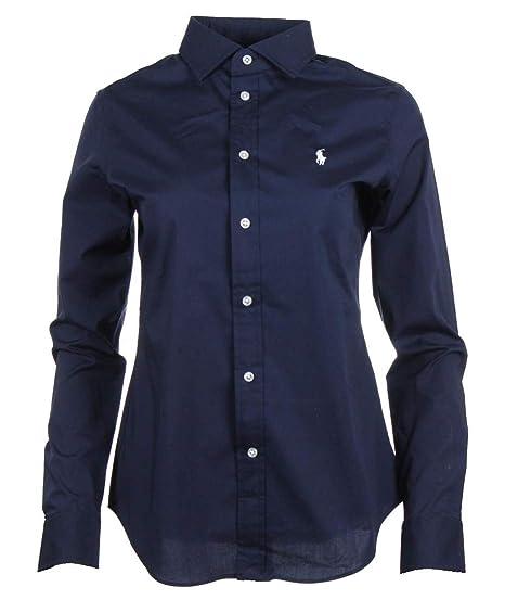 Ralph Lauren Damen Bluse Navy, Blau, Weiß: