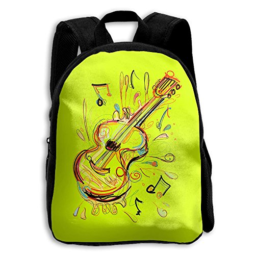 Guitar Kids Backpacks Double Shoulder Print School Bag Travel Gear Daypack Gift by LAUR