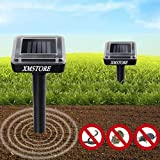 7. XMSTORE Mole Repellent, Upgrade 2 Pack Solar Powered and Ultrasonic Gopher/Rodent/Vole Repellent