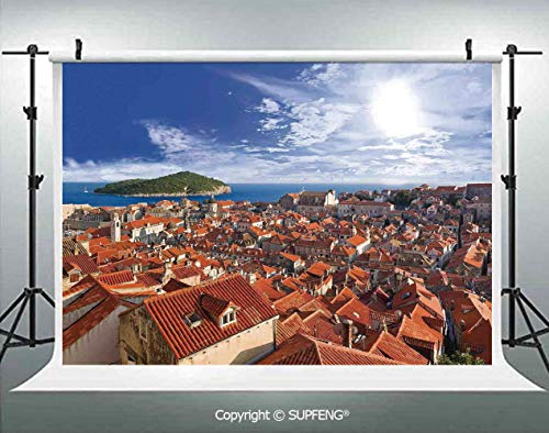 Background Sunset of Dubrovnik City with The Island Mediterranean Culture Old Town Print Deco 3D Backdrops for Interior Decoration Photo Studio Props