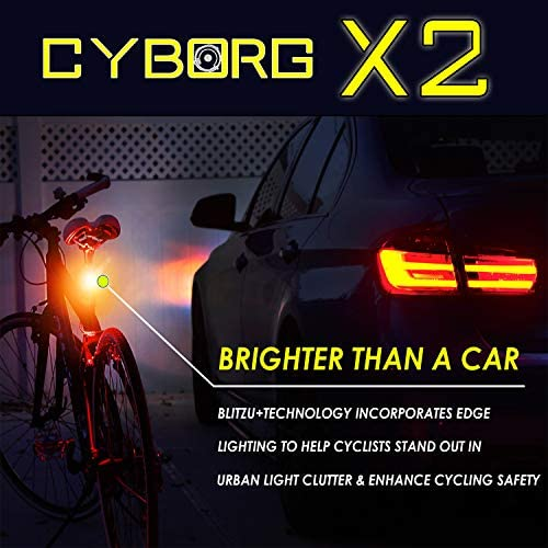 BLITZU Ultra Bright Bike Light Cyborg X2 USB Rechargeable Bicycle Tail Light. Red High Intensity Rear LED Accessories Fits On Any Road Bikes, Helmets. Easy to Install for Cycling Safety Flashlight