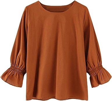 VJGOAL Mujer Cuello Redondo Color sólido Camiseta de Manga Larga Otoño Tallas Grandes Casual Blusa Suelta Tops: Amazon.es: Ropa y accesorios
