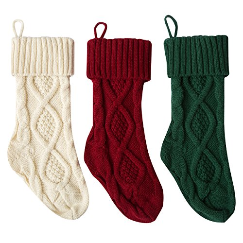 Solucky 3PC Set- 15'' Classic Christmas Knit Stockings, Christmas Decorations, White, Red and - Christmas Stockings