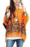 Uget Women's Boat Neck Loose Dolman Sleeve Tops Bohemian Chiffon Blouse T Shirt Plus Size Free Size Orange