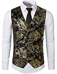 4c92b56a7d2eb Mens Hipster Metallic Paisley Printed Single Breasted V-Neck Suit Vest Tuxedo  Waistcoat
