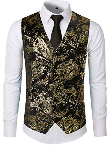 ZEROYAA Mens Hipster Gold Paisley Single Breasted Suit Dress Vest/Tuxedo Waistcoat Z49 Gold Large