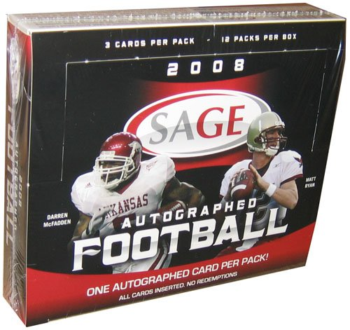 2008 Sage Autographed Football Hobby Box - 12 Packs Per Box of 3 Cards Per Pack ()