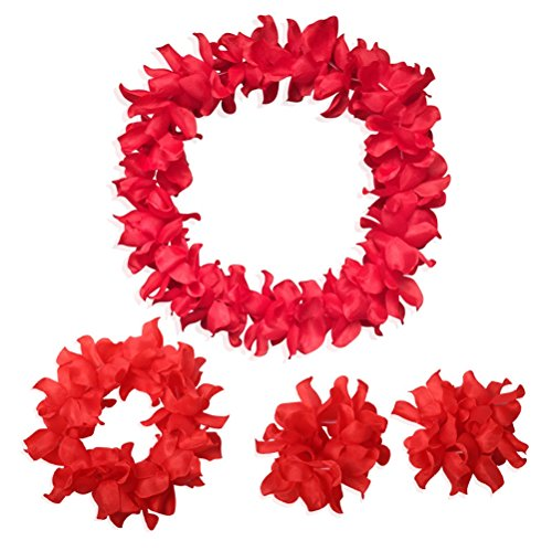 CISMARK Hawaiian Luau Flower Leis Jumbo Necklace Bracelets Headband Set(Red) ()