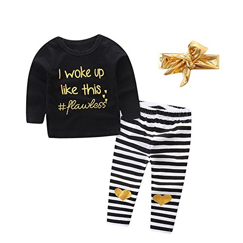 OUTGLE Newborn Baby Girl Black Pullover + Stripe Trousers + Gold Headband Clothing Set Outfits (0-9 Months) (Black Striped Gold Headband)
