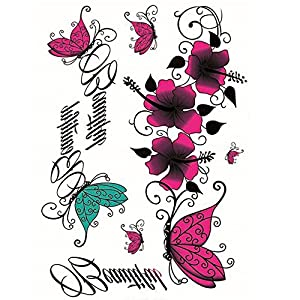 Yeeech Temporary Tattoos Sticker Butterfly Vine Flower Sexy Products for Women Waterproof
