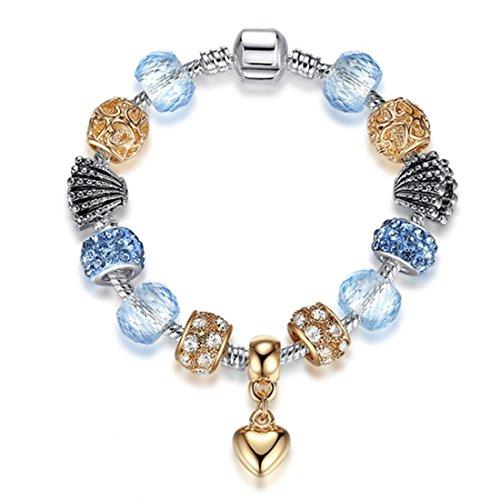 SwanElegant Murano Glass Beads Charm Bracelet,Enameled Pink Blue Crystal Silver Plated Charm Bracelet European Style Snake Chain Bracelet Jewelry Gifts for Women Teen Girls(6.7