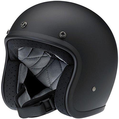 Biltwell Bonanza DOT Certified Open-Face-Helmet-Style Helmet (Flat Black, Large) - BH-BLK-FL-DOTLG