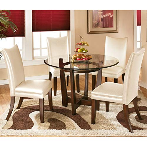 Ashley Furniture Charrell 5 Piece Glass Round Dining Set in Ivory (Round Dining Sets)