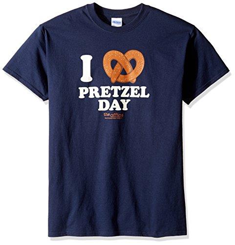 T-Line Men's The Office TV Series Pretzel Day Graphic T-Shirt, Navy, XX-Large