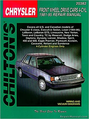 Ch20382 Chilton Chrysler Front Wheel Drive Cars 4 Cyl 19811995. Ch20382 Chilton Chrysler Front Wheel Drive Cars 4 Cyl 19811995 Repair Manual Manufacturer Amazon Books. Wiring. 1992 Lebaron Wiring Diagram At Scoala.co