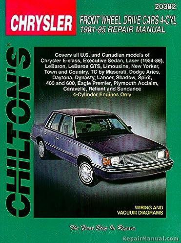 ch20382 chilton chrysler front wheel drive cars 4 cyl 1981 1995 rh amazon com 1982 Chrysler Fifth Avenue 1986 Chrysler LeBaron