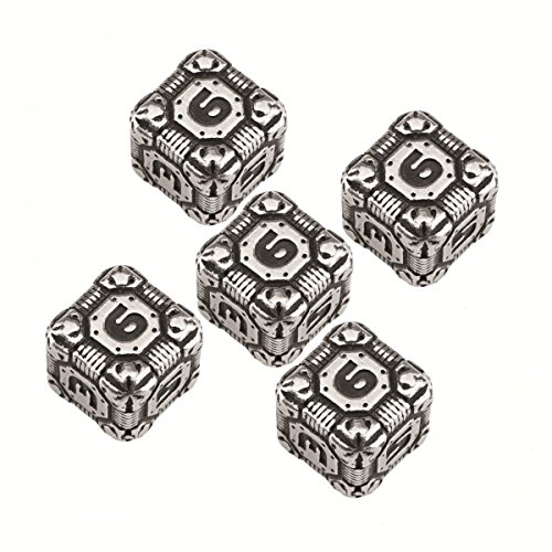 Q-Workshop: d6 Tech Dice Metal Black (5) Set of Five D6's