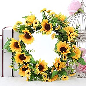LaHomey 11-Inch Sunflower Wreath, Home Decoration for Wedding Party, Small 119