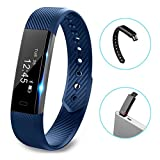 Fitness Tracker - LOLG Smart Waterproof Activity Tracker Health Watch with Pedometer Bluetooth Distance Calories Counter Sleep Monitor Camera Control etc for IOS &Android System - Black Purple (BLUE)