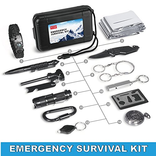 H.T.W Survival Gear Kit 14 in 1, Outdoor Emergency EDC Tool Set With Emergency Blanket, Paracord Bracelet,Flashlight Ect for Trip/Car/Hunting/Hiking/Camping,Gift for Father Men Dad (Jeep Portable Gear)