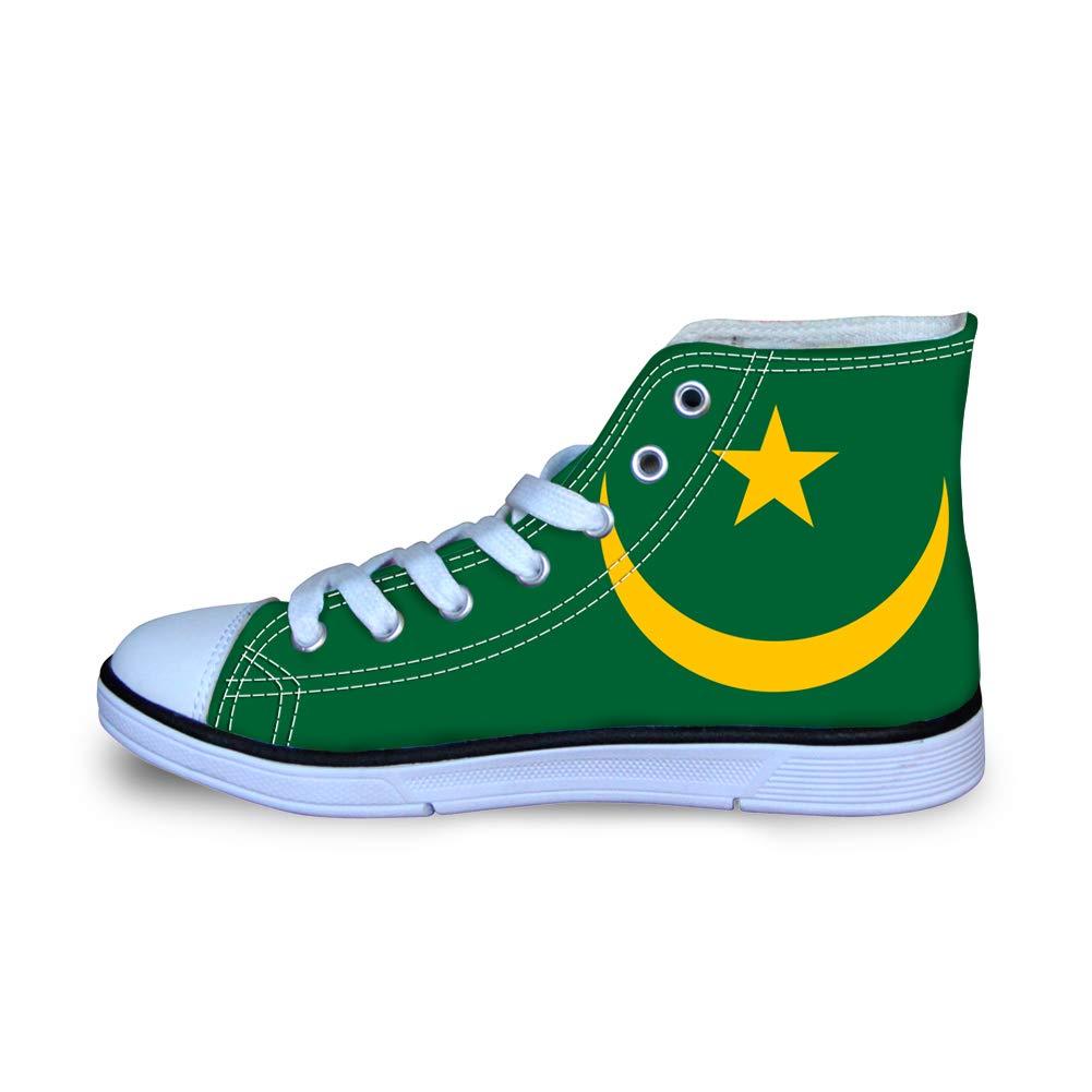 Canvas High Top Sneaker Casual Skate Shoe Boys Girls Mauritania Flag