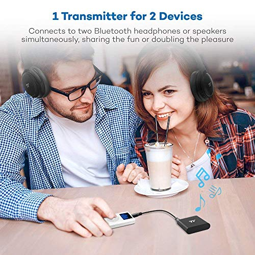 TaoTronics 65ft Bluetooth Transmitter Long Range 3.5mm & RCA Wireless Audio Adapter for TV (aptX Low Latency, Bluetooth 4.2, Pair 2 Stereos Headphones at Once) by TaoTronics (Image #1)