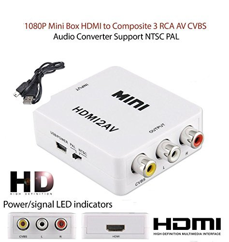 1080P HDMI to AV 3RCA CVBs Composite Video Audio Converter Adapter, ixaer Mini HDMI2AV Video Converter Box Supporting PAL/NTSC with USB Charge Cable for or HDTV TV PS3 Computer PC VCR NTSC