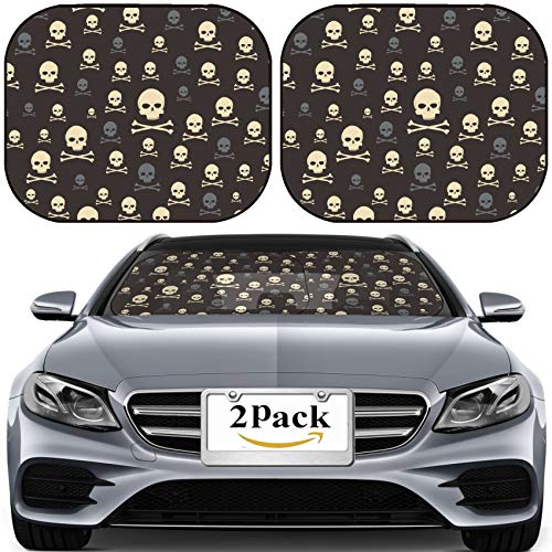 MSD Car Sun Shade for Windshield Universal Fit 2 Pack Sunshade, Block Sun Glare, UV and Heat, Protect Car Interior, Illustration of Skull and Bone Pattern on The Black Background Photo 5056346