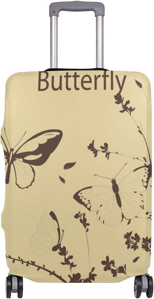 FOLPPLY Vintage Butterfly Luggage Cover Baggage Suitcase Travel Protector Fit for 18-32 Inch