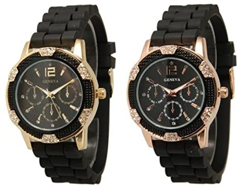 2 Pack Black Gold and Rose Gold Crystal Rhinestone Geneva Faux Chronograph Rubber Jelly Watch (Geneva Watches Men Gold)