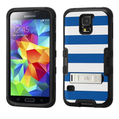 (UNQUITI TuMax Plastic+Silicone rubber Hybrid Case(BLACK) Image Case for SAMSUNG GALAXY S 5 - STRIPE (Royal Blue/White))