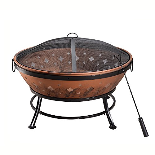 Cheap Peaktop FP35 Outdoor Round Steel Wood Burning Fire Pit 35-Inch – Copper/Black