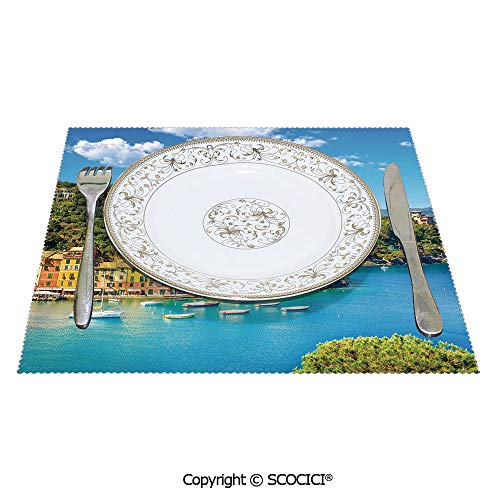 SCOCICI Printed Reusable Heat-Resistant Placemats Set of 4 Pcs Portofino Landmark Aerial Panoramic View Village and Yacht Little Bay Harbor for Family Dining Table Coffee Table Decoration 12