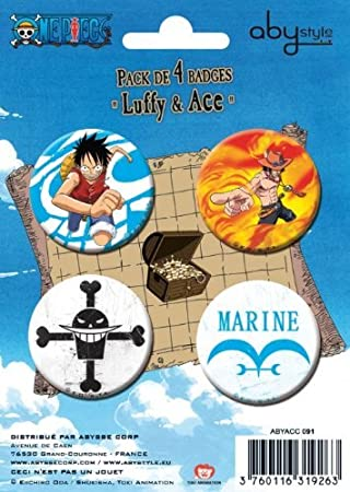 AbyStyle - Pack 4 Badges One Piece - Luffy & Ace - 3760116319263 ...