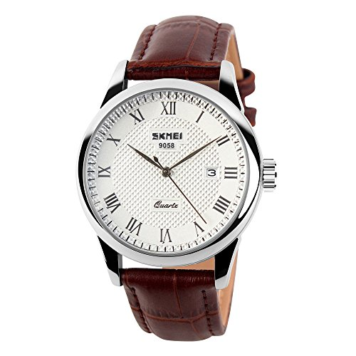 CakCity Men's Business Analogou Casual Watches Quartz Waterproof Wrist Watch with Golden Dial Brown Leather (Brown Dress Leather Watch Band)