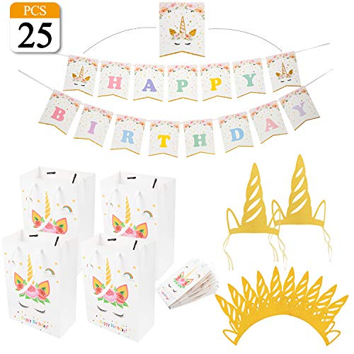VONDERSO Unicorn Party Favor Bags, Glitter Gold Unicorn Horn Hats Birthday Hats, Glitter Happy Birthday Unicorn Bunting Banner For Birthday Party Supplies 25Pcs