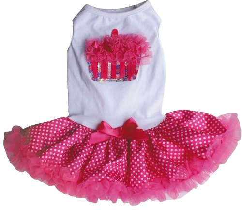 PAWPATU Pawpatu White and Hot Pink Ruffle Cupcake Birthday Dress for 13-20 pound Dogs, White/Hot Pink