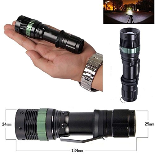 1Pcs Defectless Popular 3000 Lumen LED Flashlight Light Adjustable Focus Zoomable Torch 3-Mode Brightness Color Black