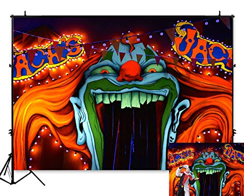 Halloween Party Entrance (Art Studio 7x5ft Horror Circus Theme Halloween Party Photography Backdrop Giant Evil Clown Entrance Scary Hallowmas Kids Birthday Party Photo Background Grove Vampire Banner Photobooth Studio)