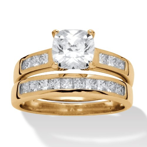 (18K Yellow Gold over Sterling Silver Princess Cut Cubic Zirconia Bridal Ring Set Size 9)
