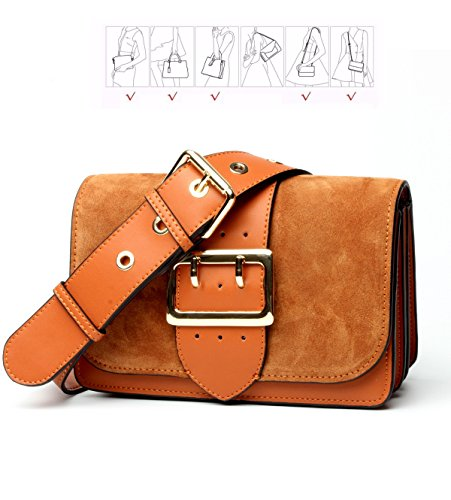 Kissria Suede Shoulder Bag,Women's Genuine Leather Vintage Suede Belt Casual Clutch Messenger - Suede Bag Utility