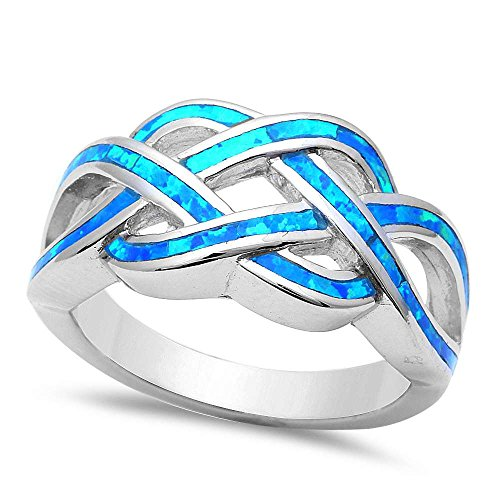 Lab Created Blue Opal .925 Sterling Silver Rings Sizes 5-11