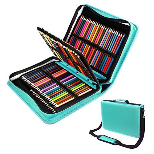 (YOUSHARES 180 Slots PU Leather Colored Pencil Case - Large Capacity Carrying Case for Prismacolor Watercolor Pencils, Crayola Colored Pencils, Marco Pens, Gel Pens(Green))