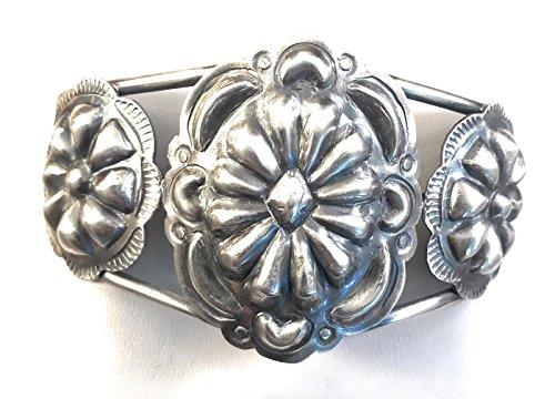 Nizhoni Traders LLC Navajo Sterling Silver Hand Stamped Concho Cuff Bracelet By Tim Yazzie ()