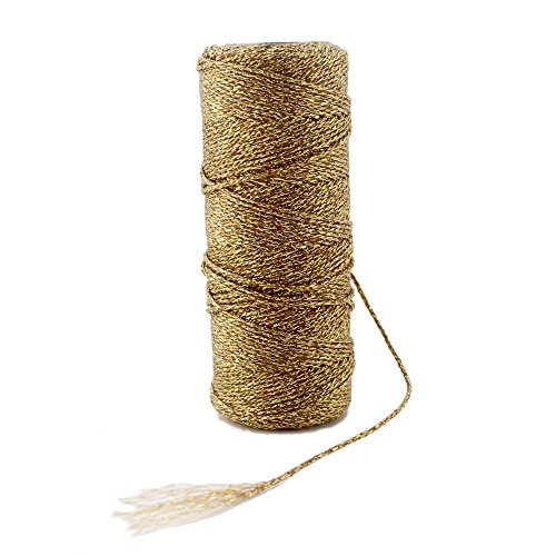Ipalmay 100m Metallic Gold Bakers Twine Spool 3-Ply for DIY Crafts Arts or Gift Wrapping