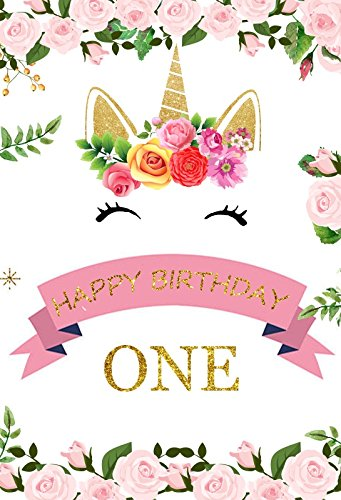 OFILA Unicorn Birthday Backdrop 4x6ft Baby Girls 1st Party Decoration Happy Photos Family Portraits Cake Smash Video Studio Props